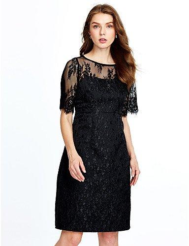 La mujer parte de encaje Vintage una línea Vestido encaje,sólida la rodilla-longitud