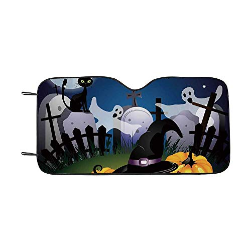 Halloween Durable Car Sunshade,Funny Cartoon Design with Pumpkins Witches Hat Ghosts Graveyard Full Moon Cat Decorative for car,55