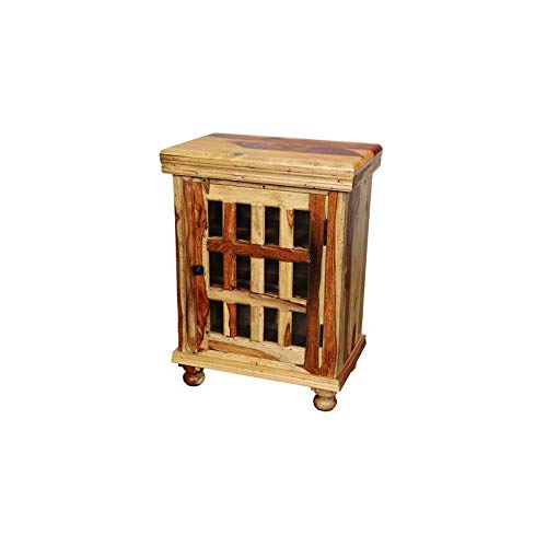 Hawthorne Collections Sante Fe Solid Sheesham Wood 12 Pane Glass Cabinet or Bedside Table by Hawthorne Collections