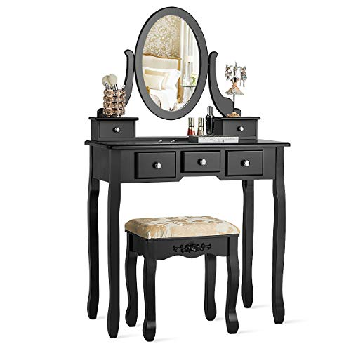 CHARMAID Vanity Table Set with Rotatable Oval Mirror, Bedroom Makeup Table with 5 Drawers for Women Girls, Dressing Table with Cushioned Stool Black