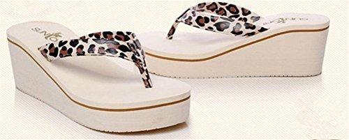 Womens Platform High Heel Wedges Sandals Thong Slippers Leopard Beige eUeAc