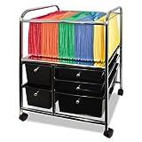 Letter/Legal File Cart w/Five Storage Drawers, 21-1/8 x 15-1/4 x 28-3/8, Black - AVT34100