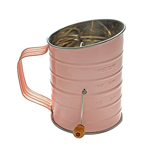 ShengHai 3 Cup Stainless Steel Rotary Hand Crank Baking Flour Sifter (Pink) ()