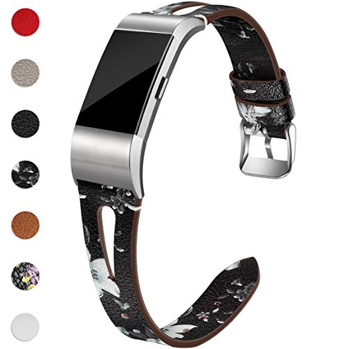 Maledan Bands Compatible for Fitbit Charge 2, Slim Genuine Leather Band Replacement Accessories Strap for Fitbit Charge 2, Small, Black/White Floral