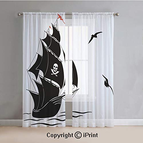 (Pirate Sheer Curtains Window Voile,Silhouette of Old Sail Pirate Ship Flying Seagulls Ocean Waves Jolly Roger Decorative,for Bedroom,Living Room,Kitchen,2 Panels Set,54x63Inches,Black White Red)