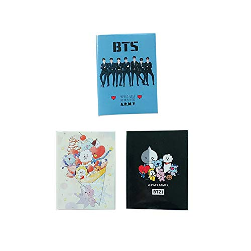 kpop BTS Memo Book,4.72'' x 3,54'',60 Sheets, College Ruled Notebook, (3pack, C)