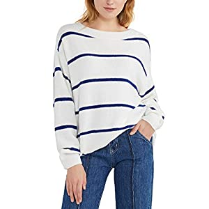 Woolen Bloom Pull Rayures Femme Oversize Pullover Col Rond Sweater Tricoté Sweat Chaud Manche Longue Sweatshirt Tunique…