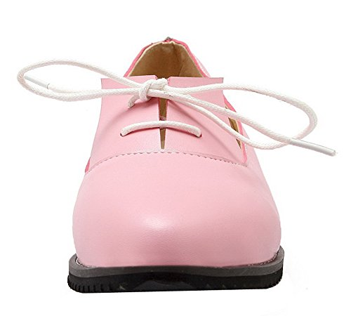 Allhqfashion Femmes Bout Rond Talons Bas Pu Chaussures Solides-chaussures Rose