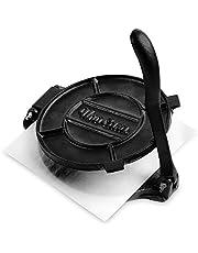 Uno Casa Cast Iron Tortilla Press - 8 Inch, Pre-Seasoned Tortilla Maker with 100 Pcs Parchment Paper - Pataconera for Flour Tortilla, Roti, Tawa or Dosa