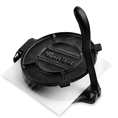 Uno Casa Cast Iron Tortilla Press - 8 Inch, Pre-Seasoned Tortilla Maker with 100 Pcs Parchment Paper (Best Way To Send Gifts To India From Usa)