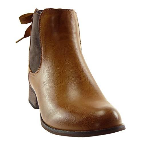 2 Lacets Chelsea Fourrée Angkorly Cm Mode Chaussure Noeud Femme Talon Boots 3 Bottine Intérieur Bloc Camel qwZ0t