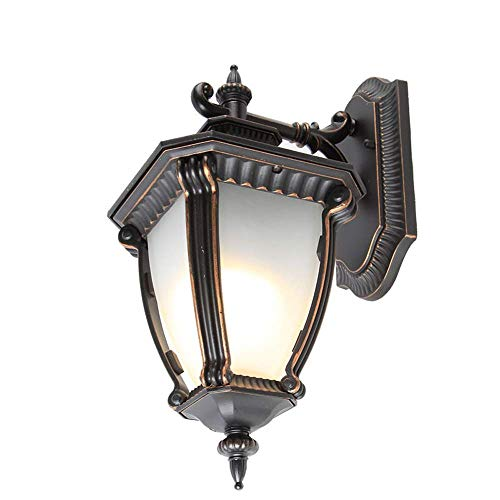 Wisdom Chandeliers American Retro Collection 1-Lamp Exterior Wall Lantern Black Finish with White Glass Decorative Corridor Aisle Garden Terrace Doorway Ip55