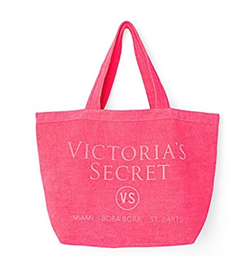 VICTORIA SECRET LIMITED EDITION HOT PINK TERRY TERRY CLOTH BEACH TOTE