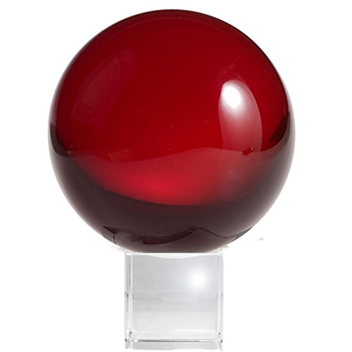 Amlong Crystal Meditation Ball Globe with Free Crystal Stand, 80mm, Red