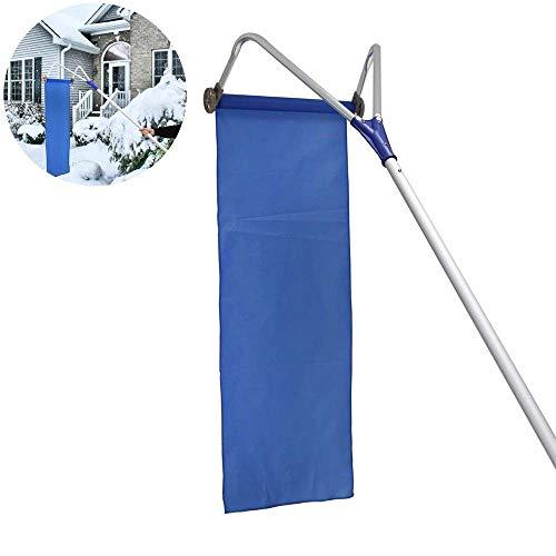 CJB18 Roof Snow Shovel, Garden Roof Snow Removal Tool, Roller Oxford Snow Shovel Adjustable Telescopic Handle