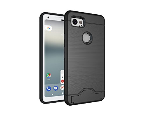 Price comparison product image Pixel 2 XL Case,DAMONDY Card Slot Holder Dual Layer Shock Absorption Protective with Card Holder and Kickstand Wallet Case Heavy Duty Bumper for Google Pixel 2 XL (2017)-black