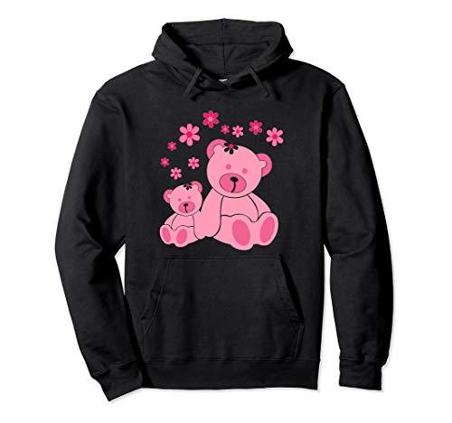 Very Cute Two Pink Teddies With Flowers Pullover Hoodie