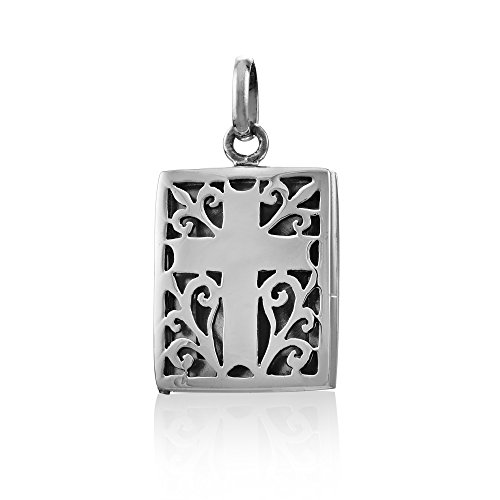 WithLoveSilver 925 Sterling Silver Antique Cut Out Prayer Box Cross Locket Pendant Antique Locket Cross