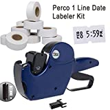 Perco 1 Line Price Gun with Labels Kit - Includes 1 Line Pricing Gun, 10,000 White Labels, with Pre-Loaded Inker