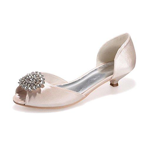 L@YC Zapatos De Seda De La Boda De Las Mujeres # 0700-03 Pisos De Lujo Chispeantes Que Casan El Gatito De Encargo Con Champagne