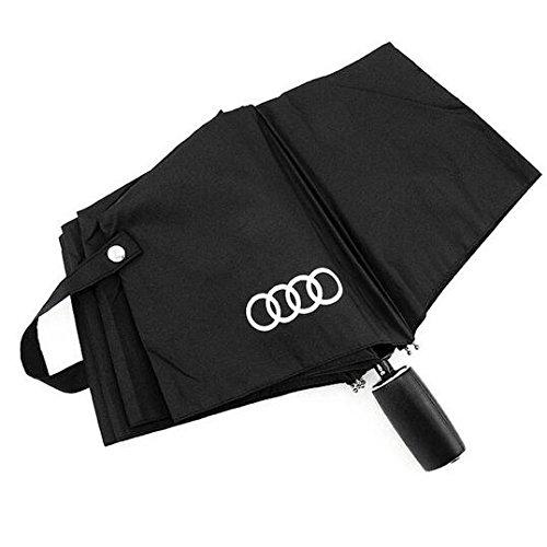 Audi genuine leather handle Japanese brand sun rain Umbrella 3 Fold Anti UV French royal umbrella men women (Black) by Pinsjar (Image #1)