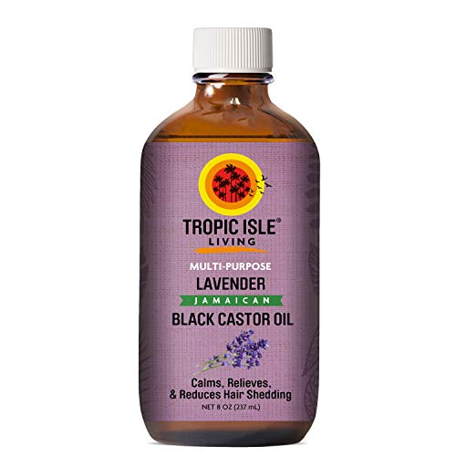 Tropic Isle Living Lavender Jamaican Black Castor Oil 8 oz - Glass Bottle (Castor Oil And Lavender Oil For Hair)