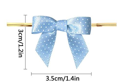 Lollipop Bow - 8 Color Gift Bows,Blue Twist Tie Bows for Bakery Candy Lollipop Cello Bag(50 Pack)