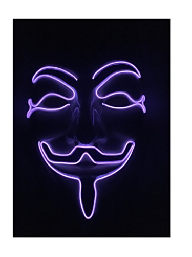 EL Wire Halloween Cosplay Led Mask Light Up Mask for Festival Parties Christmas Gifts Birthday Party Gift Any Parties (one size, Purple Mask)