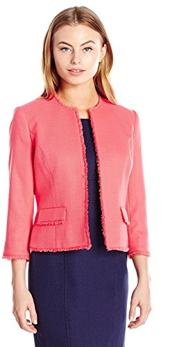 Kasper Women's Petite Size Jewel Neck Textured Jacket With Fringe Trim, Coral Reef, 12P (Textured Suit Jacket)