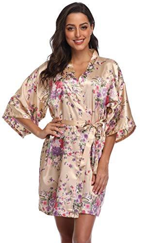 (Season Dressing Floral Satin Kimono Robes Short Bridesmaid Robe for Parties Wedding Robes,Champagne X-Large)