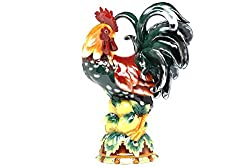 Pacific Giftware Decorative Rooster Standing on Fruit Ceramic Statue Figurine, 16.5