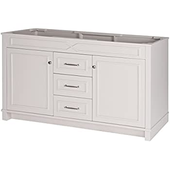MAYKKE Abigail 60 Inch Bathroom Vanity Cabinet In Birch Wood French Grey  Finish, Double Floor