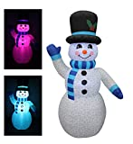 BZB Goods 6 Foot Tall Christmas Inflatable Snowman Multi Color LED Lights Decor Outdoor Indoor Holiday Decorations, Blow up LED Lighted Christmas Yard Decor, Giant Lawn Inflatable Home Family Outside