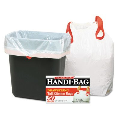 stic Handi Bag Tall Kitchen Waste Can Liner, Drawstring, Super Value Pack, 0.69 Mil, Flat Seal, 27