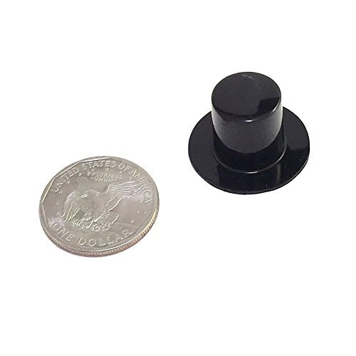 Top Hats - Black Plastic (28 x 17mm, 24/pcs) -