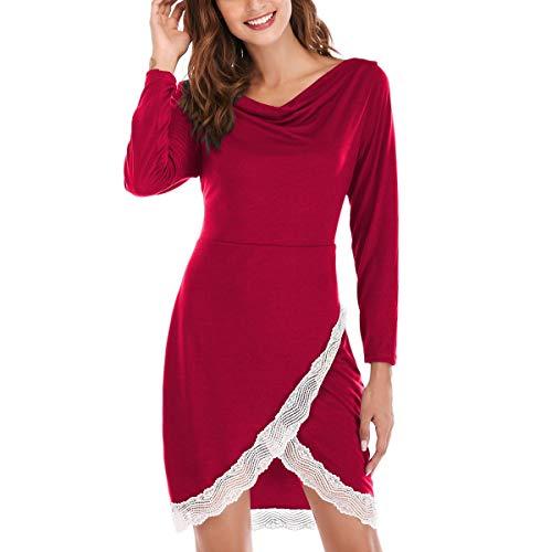 ba4241a9180 Dentelle D automne Pour Femme V Rouge Grande En Robe Et Croisé Pure Manche  Taille D hiver Mini Couleur Nouvelle Noir De Col ...