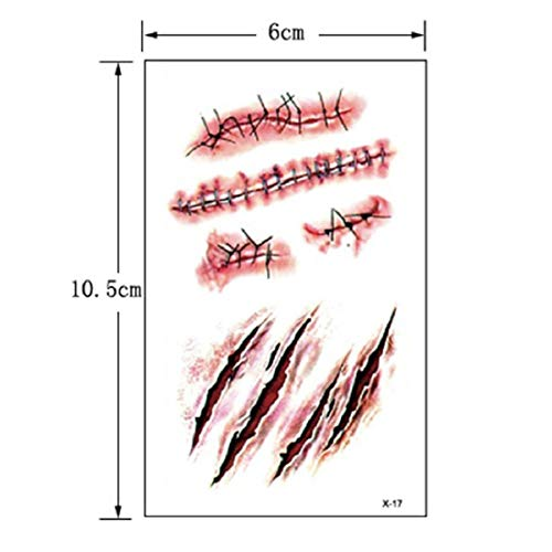 Buildent - Halloween Zombie Scars Tattoos with Fake Scab Bloody Makeup Halloween Decoration Wound Scary Blood Injury Sticker -