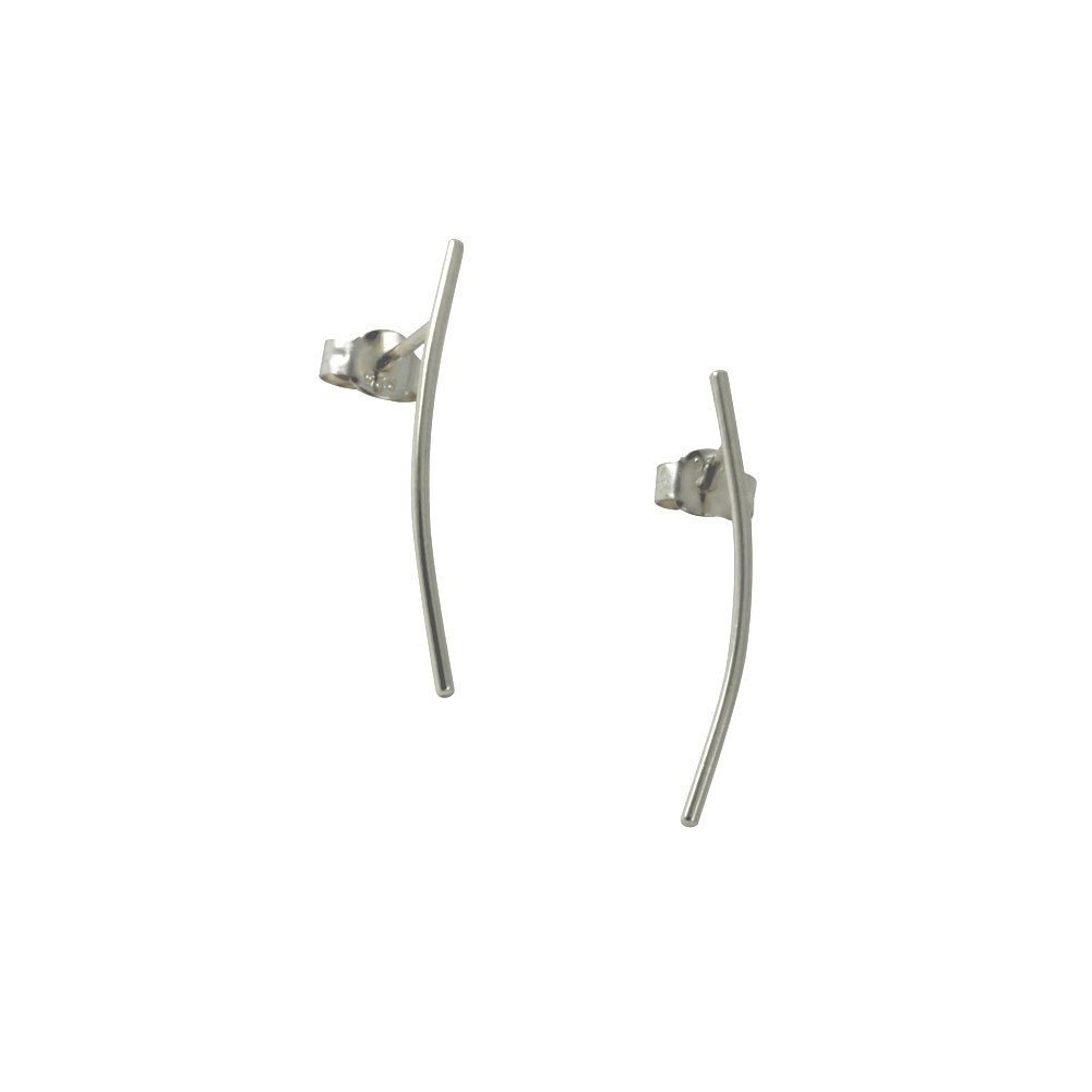 apop nyc Sterling Silver Thin Stick Bar Stud Earrings Climber Style [Jewelry]