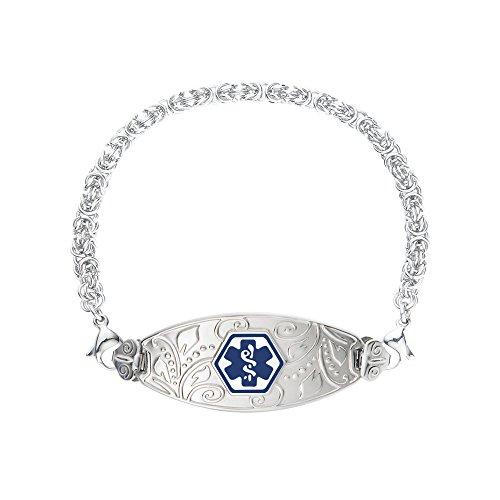 Divoti Deep Custom Laser Engraved Lovely Filigree Medical Alert Bracelet -Stainless Handmade Byzantine-Deep Blue-7.0