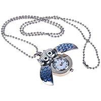 Gleader Plata Y Azul Mini Buho Reloj De