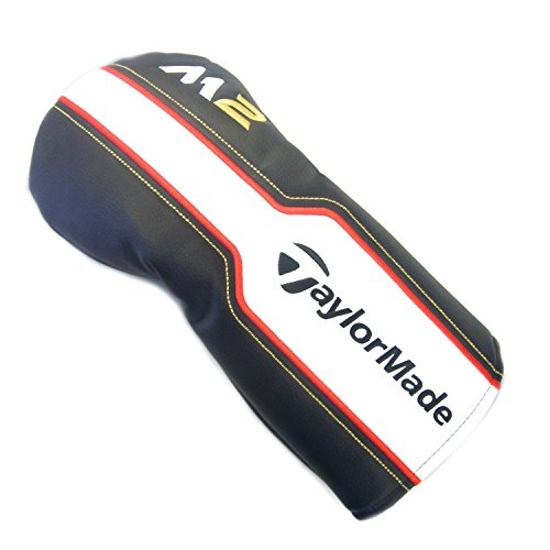 Gold Club Headcover (NEW TaylorMade M2 Black/White/Gold Leather Driver Headcover)
