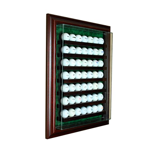 Perfect Cases 49 Golf Ball Cabinet Style Display Case with Hinged Door and Suede (Golf Memorabilia Shadow Box)