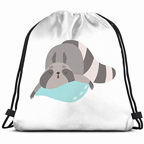 Cute Raccoon Animal Sleeping On Pillow Animals Wildlife Adorable Signs Symbols Drawstring Backpack Bag Sackpack Gym Sack Sport Beach Daypack For Girls Men & Women Teen Dance Bag Cycling Hiking Team Tr ()