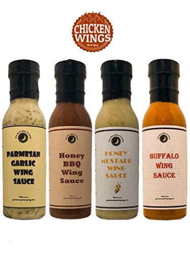- Premium | Chicken WING SAUCE | Variety 4 Pack | TOP SELLERS | Buffalo Wing Sauce | Honey Mustard Wing Sauce | Parmesan Garlic Wing Sauce | Honey BBQ Wing Sauce
