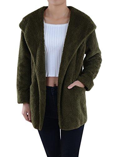 Anna-Kaci Lounge & Chill Hooded Fluffy Fleece Comfy Soft Teddy Coat Jacket, Olive Green, Medium/Large