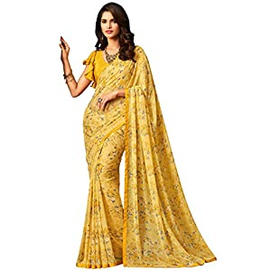 Roop Kashish Women's Georgette Saree With Unstitched Blouse Piece (RKRU2505B_Yellow)