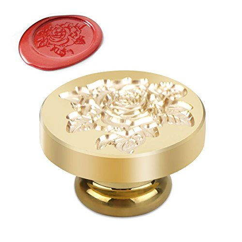 Powstro Wax Seal Brass Stamp Head Alphabet Wax Sealing Stamps Set Creative Romantic Stamp Maker (ROSE 2 Head), Also A Warm Heat Gift For Mother's ()