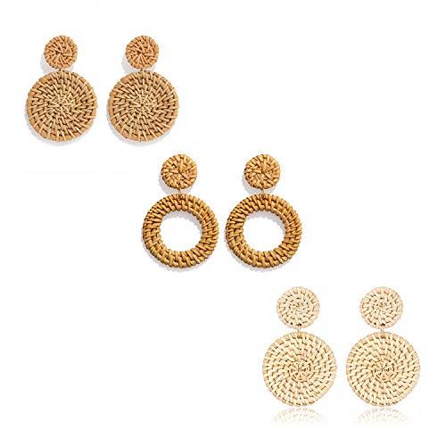 Weave Straw Drop Hoop Disc Earrings Set Boho Rattan Dangle Statement Stud Earrings For Women Girls (3pairs)