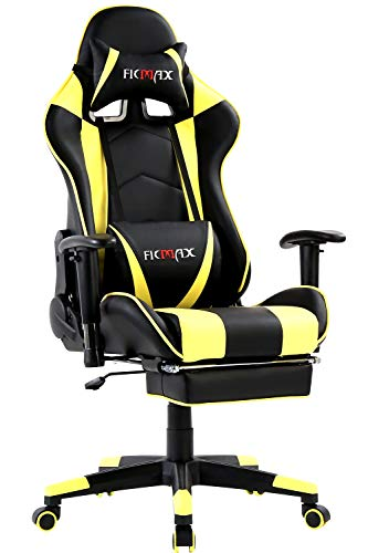 Ficmax Massage Gaming Chair Ergonomic Gamer Chair with Footrest Reclining Game Chair with Armrest High Back PC Gaming Chair Heavy Duty Racing Office Chair with Head and Lumbar Support(Black/Yellow)