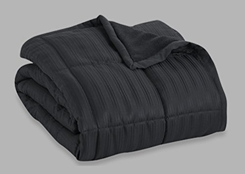 Aeolus Down 250 Thread Count Microfiber Down Alternative Throw Blanket, Black (Down Alternative Throw)